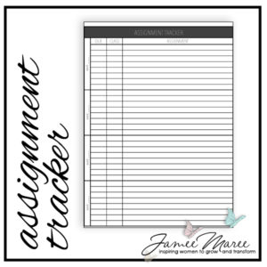 Are you in school like me? This tracker will provide a place to keep track of all those upcoming assignments, in one place. It is formatted for four weeks of classes, so just print out four and you've got your semester covered!