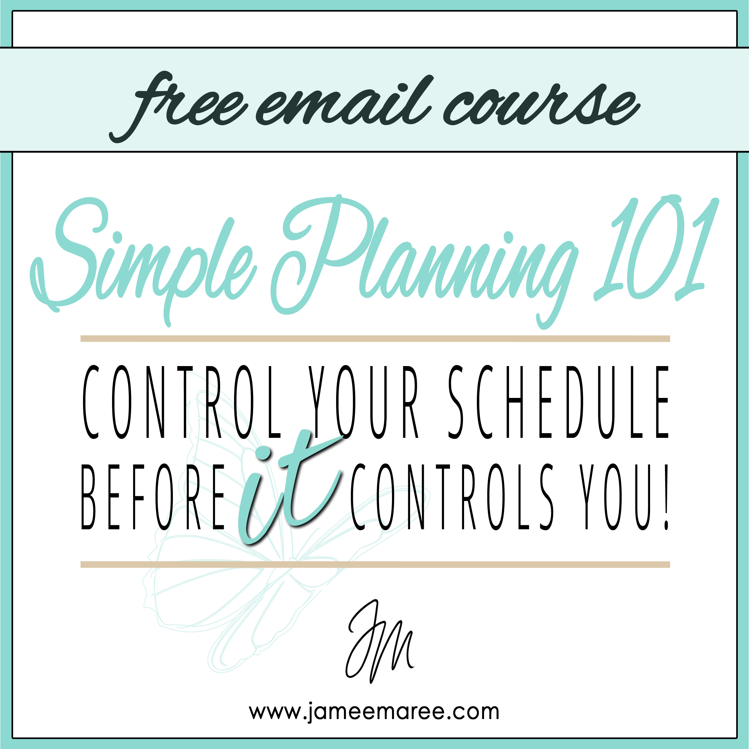 #simpleplanning101 FREE COURSE: Are you ready to take back control of your schedule before it controls you?
