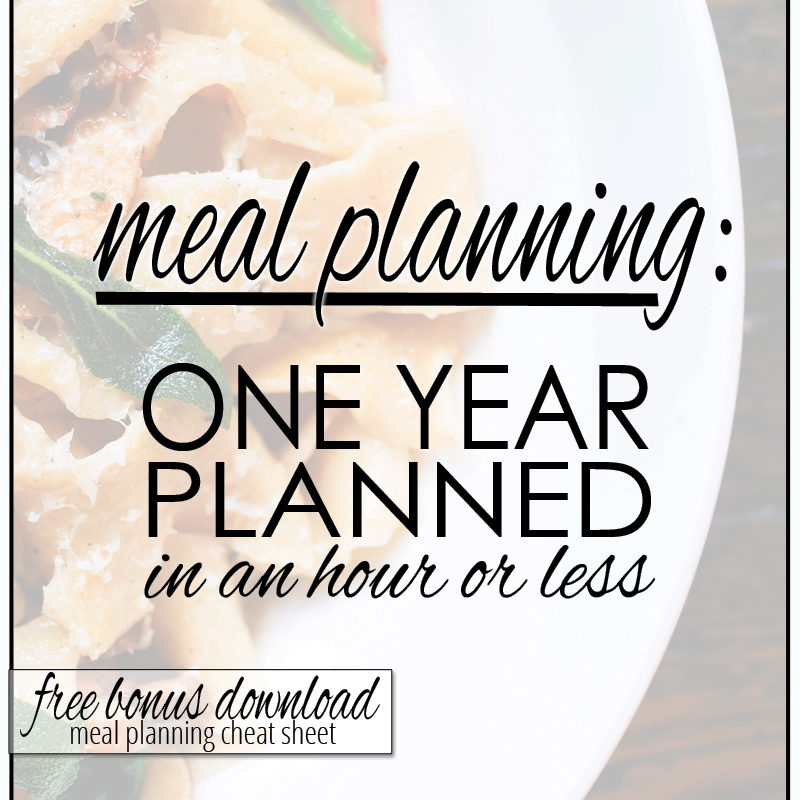 meal planning: year of meals in an hour